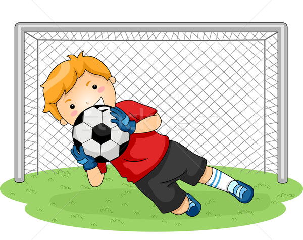 Fußball Torhüter Illustration jungen Fußball Sport Stock foto © lenm