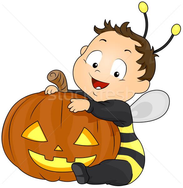 Pompoen kostuum illustratie jongen bee Stockfoto © lenm