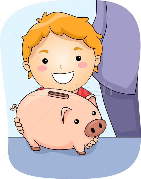 Piggy bank ilustração menino criança arte Foto stock © lenm