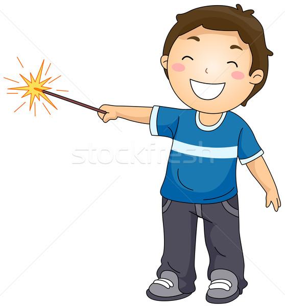 мальчика играет бенгальский огонь иллюстрация мало Kid Сток-фото © lenm