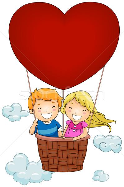 Balonem ilustracja dzieci jazda konna dziecko dziecko Zdjęcia stock © lenm