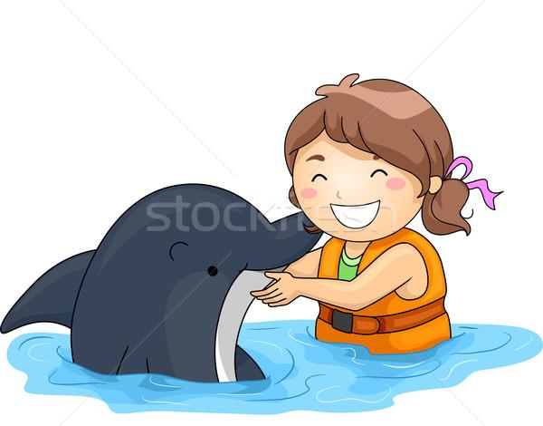 Kid meisje dolfijn illustratie meisje gelukkig Stockfoto © lenm