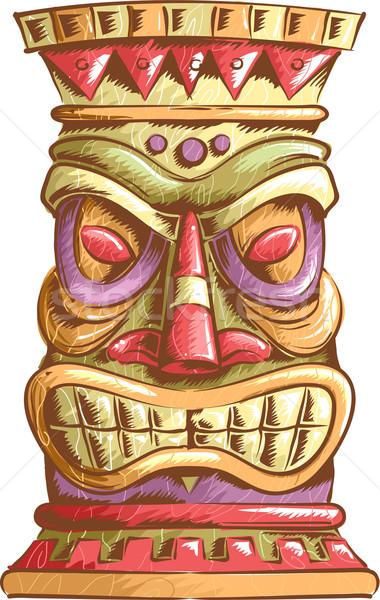 Ilustracja starożytnych głowie projektu tropikalnych posąg Zdjęcia stock © lenm