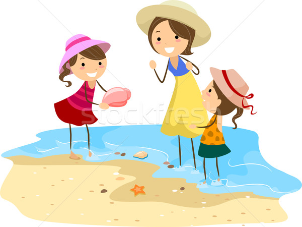Family Picking Shells Stock photo © lenm