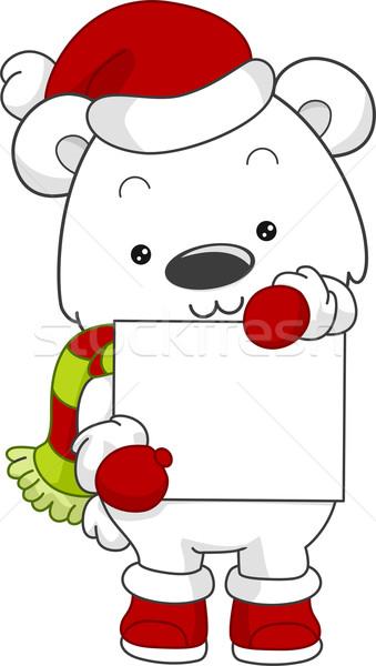 Stock fotó: Jegesmedve · karácsony · tábla · illusztráció · tart · medve