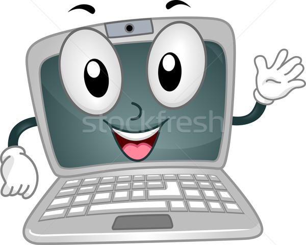 Portátil mascota ilustración felizmente ordenador Foto stock © lenm