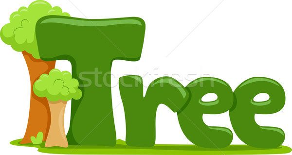 Fa szöveg illusztráció szó erdő természet Stock fotó © lenm