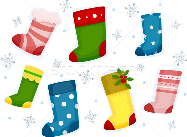 Noël chaussettes flocons de neige design illustration Photo stock © lenm