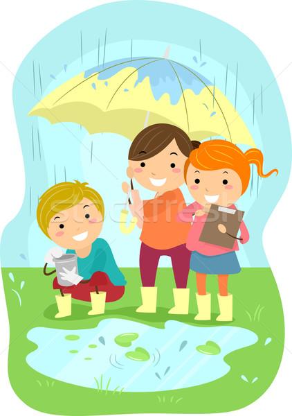 Eksperyment dzieci ilustracja deszcz dziewczyna dziecko Zdjęcia stock © lenm
