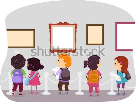 Widok z tyłu dzieci kredki pokładzie ilustracja piśmie Zdjęcia stock © lenm