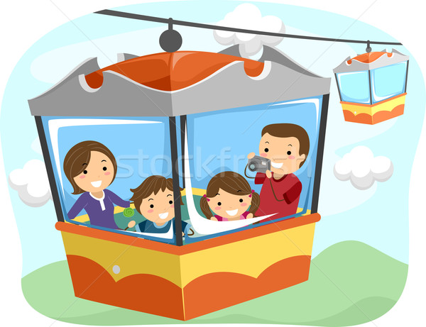 Stickman Family Cable Car Stock photo © lenm