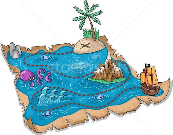 Карта сокровищ иллюстрация морем лодка Cartoon Adventure Сток-фото © lenm