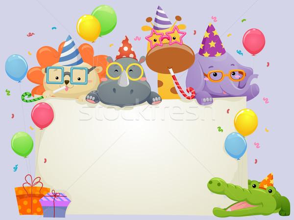サファリ動物 歳の誕生日 バナー 実例 着用 パーティ ストックフォト © lenm