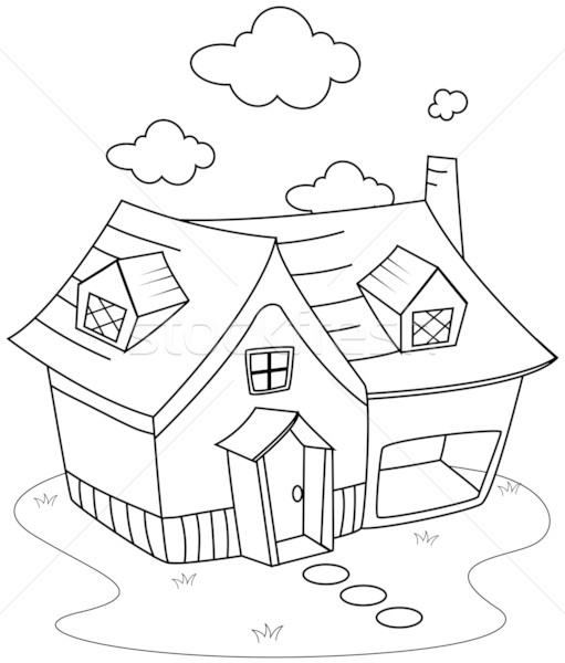 Line Art House : Line art house vector illustration lenm