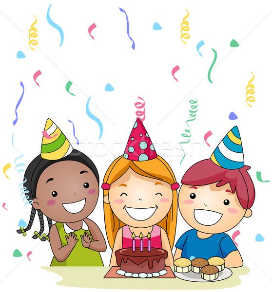 Soprar vela ilustração aniversário velas crianças Foto stock © lenm