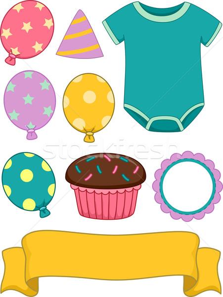 Baby Birthday Design Elements Stock photo © lenm