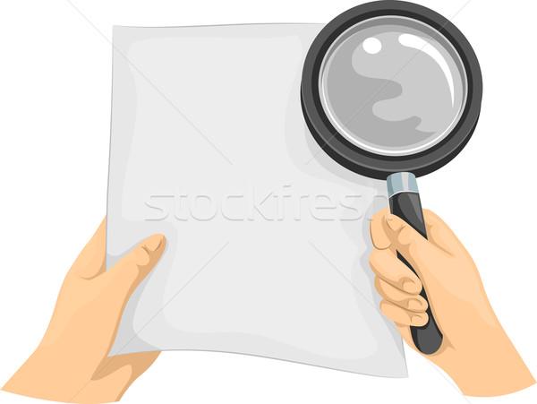 Ręce lupą papieru ilustracja ktoś tle Zdjęcia stock © lenm