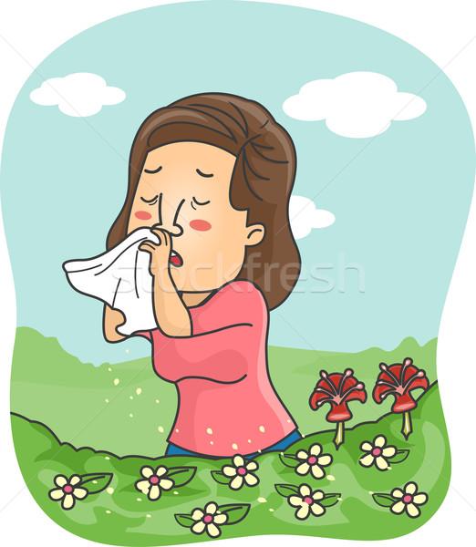 Menina flor alergia ilustração assoar o nariz pólen Foto stock © lenm