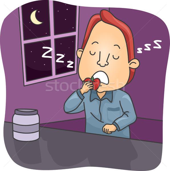 Man Sleep Eating Stock photo © lenm