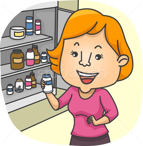 Girl Check Medicine Cabinet Stock photo © lenm