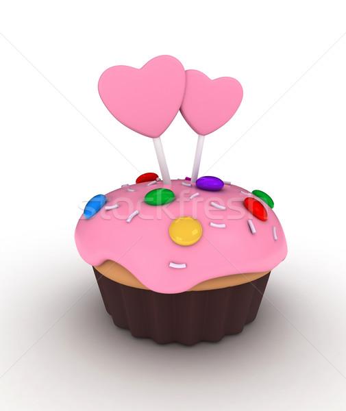 Valentin nap minitorta illusztráció cukorkák szívek szeretet Stock fotó © lenm