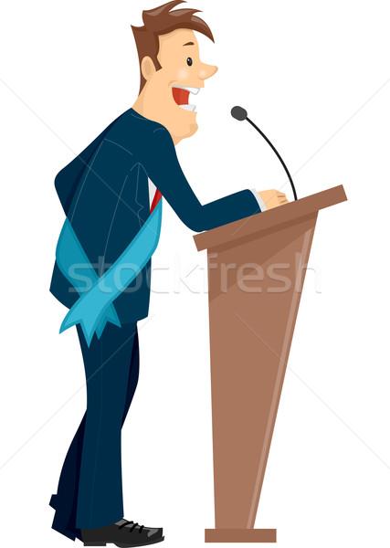 Uomo podio discorso illustrazione indossare Foto d'archivio © lenm