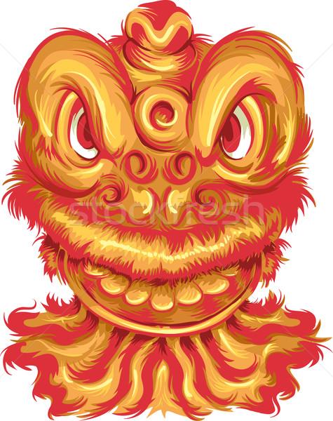 Китайский дракон иллюстрация дракон талисман Китайский Новый год красный Сток-фото © lenm