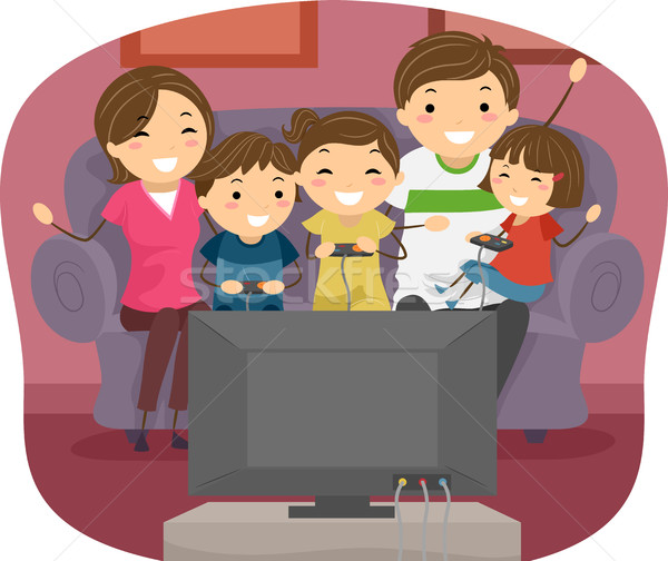 Stock photo: Stickman Family Play Video Games