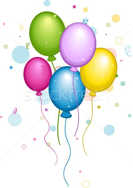 Ballons confettis illustration coloré amusement célébration Photo stock © lenm