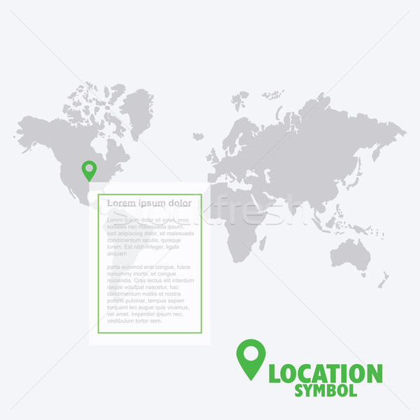 Location symbol. Map pointer, GPS location icon, world map. Stock photo © LeonART