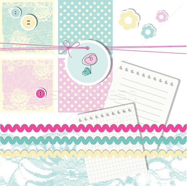 Sammelalbum Design Elemente cute Blume Baby Stock foto © LeonART