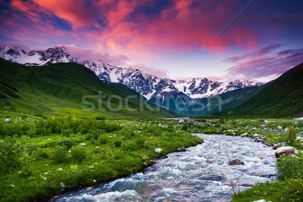 Hegy tájkép fantasztikus színes égbolt láb Stock fotó © Leonidtit