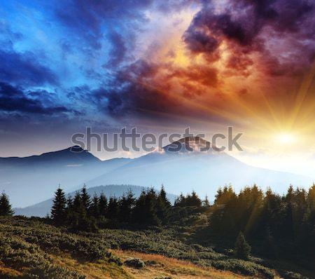 Hegy tájkép fenséges naplemente hegyek hdr Stock fotó © Leonidtit
