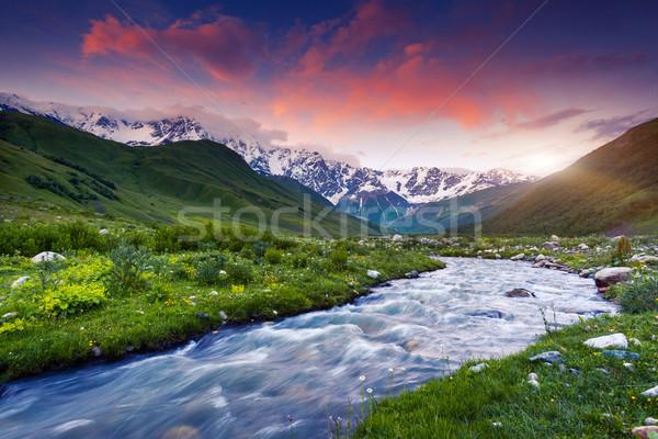 山 風景 幻想的な カラフル 空 足 ストックフォト © Leonidtit