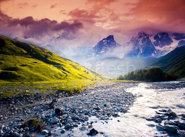 Folyó fantasztikus tájkép égbolt láb gleccser Stock fotó © Leonidtit
