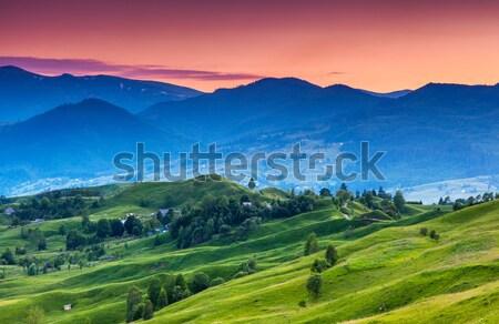 Montagnes paysage majestueux sunrise printemps coucher du soleil Photo stock © Leonidtit