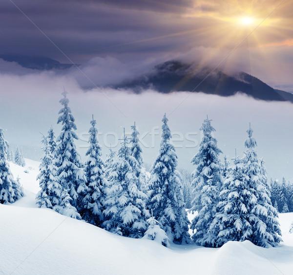 Kış gün batımı dağlar manzara dramatik Stok fotoğraf © Leonidtit