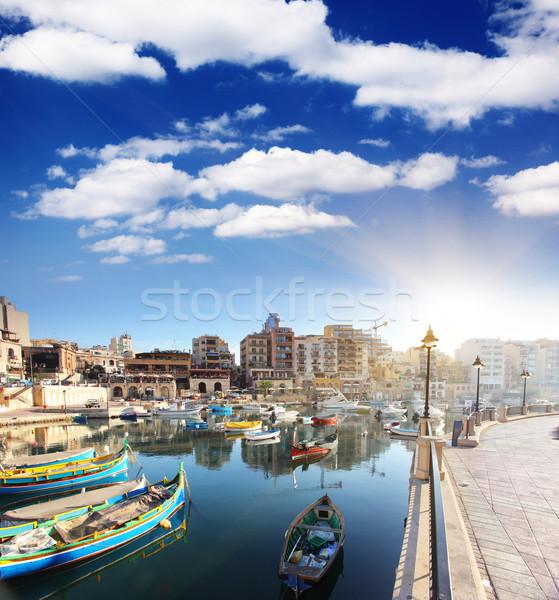 Malta fantástico cidade paisagem beira-mar barcos Foto stock © Leonidtit