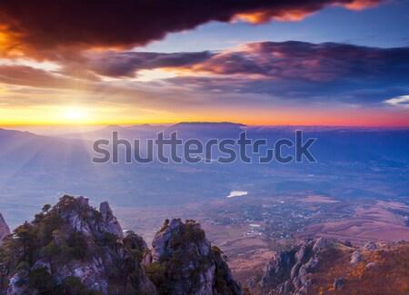 Hegy fenséges tájkép színes felhő drámai Stock fotó © Leonidtit