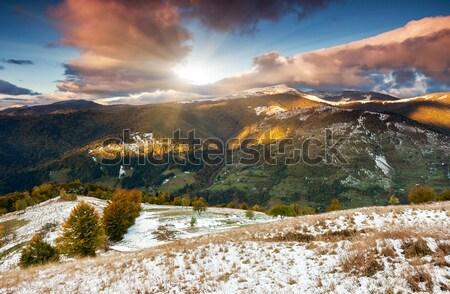 Hegy tájkép fenséges naplemente hegyek drámai Stock fotó © Leonidtit
