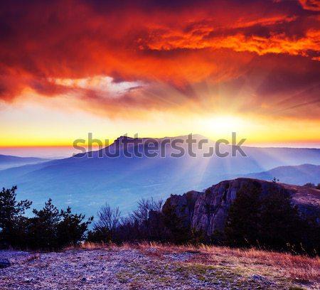 Naplemente fantasztikus színes hegyek tájkép Grúzia Stock fotó © Leonidtit