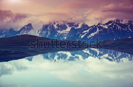 Tó fantasztikus tájkép égbolt láb Grúzia Stock fotó © Leonidtit