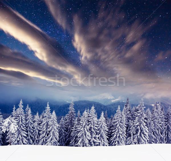 Inverno lattiginoso modo montagna panorama drammatico Foto d'archivio © Leonidtit
