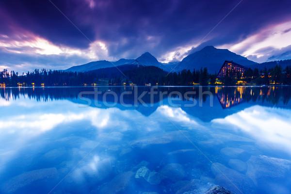 Foto stock: Lago · montanha · parque · alto · dramático · céu
