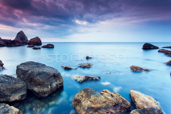 Deniz yaz gün batımı dramatik gökyüzü Stok fotoğraf © Leonidtit