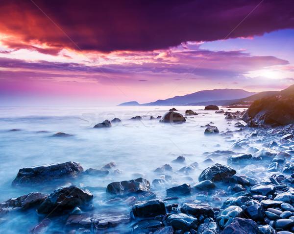 Tenger fenséges nyár naplemente drámai égbolt Stock fotó © Leonidtit