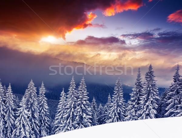Tél fantasztikus reggel hegy tájkép színes Stock fotó © Leonidtit