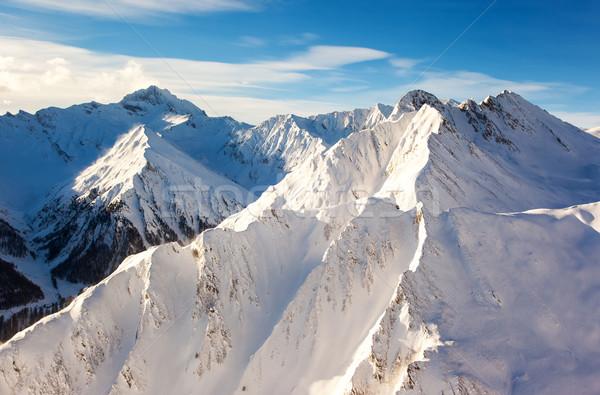 Hegy tájkép fantasztikus tél kék ég Ausztria Stock fotó © Leonidtit