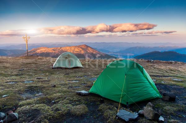 Sátor turista tábor hegyek Ukrajna Európa Stock fotó © Leonidtit