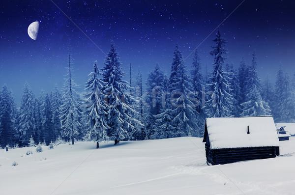 Inverno leitoso maneira montanhas paisagem Ucrânia Foto stock © Leonidtit